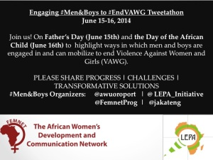 #EndVAWG #Men&Boys As Allies Flier June 15-16 2014